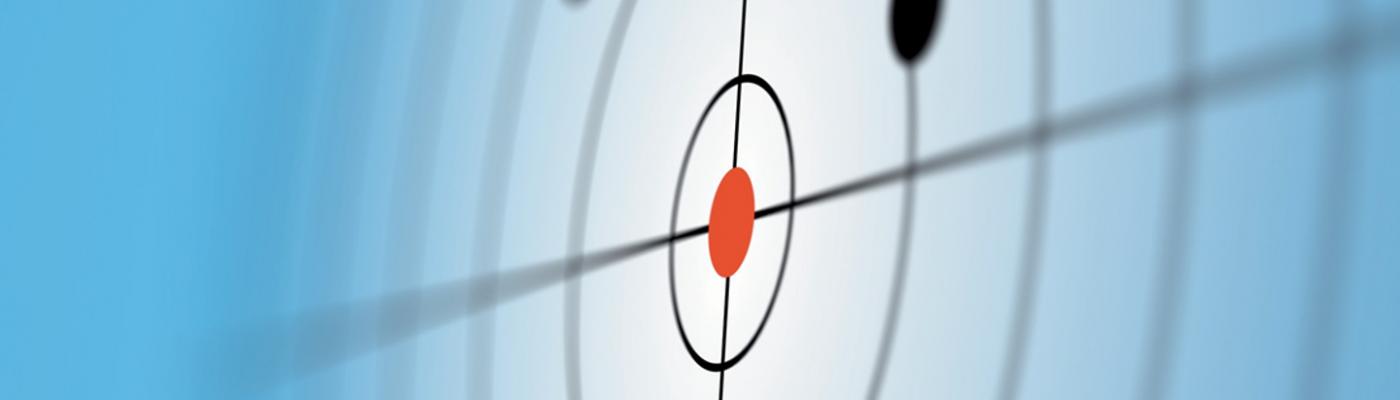 Schematische Darstellung der zielgerichteten Biopsie: Schallwellen mit schwarzen Punkten und einem roten Punkt als Ziel
